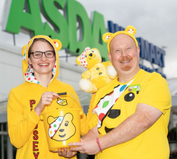 Asda Chesser community champion Gary Anderson with colleague Lauren Milsted supporting BBC Children in Need