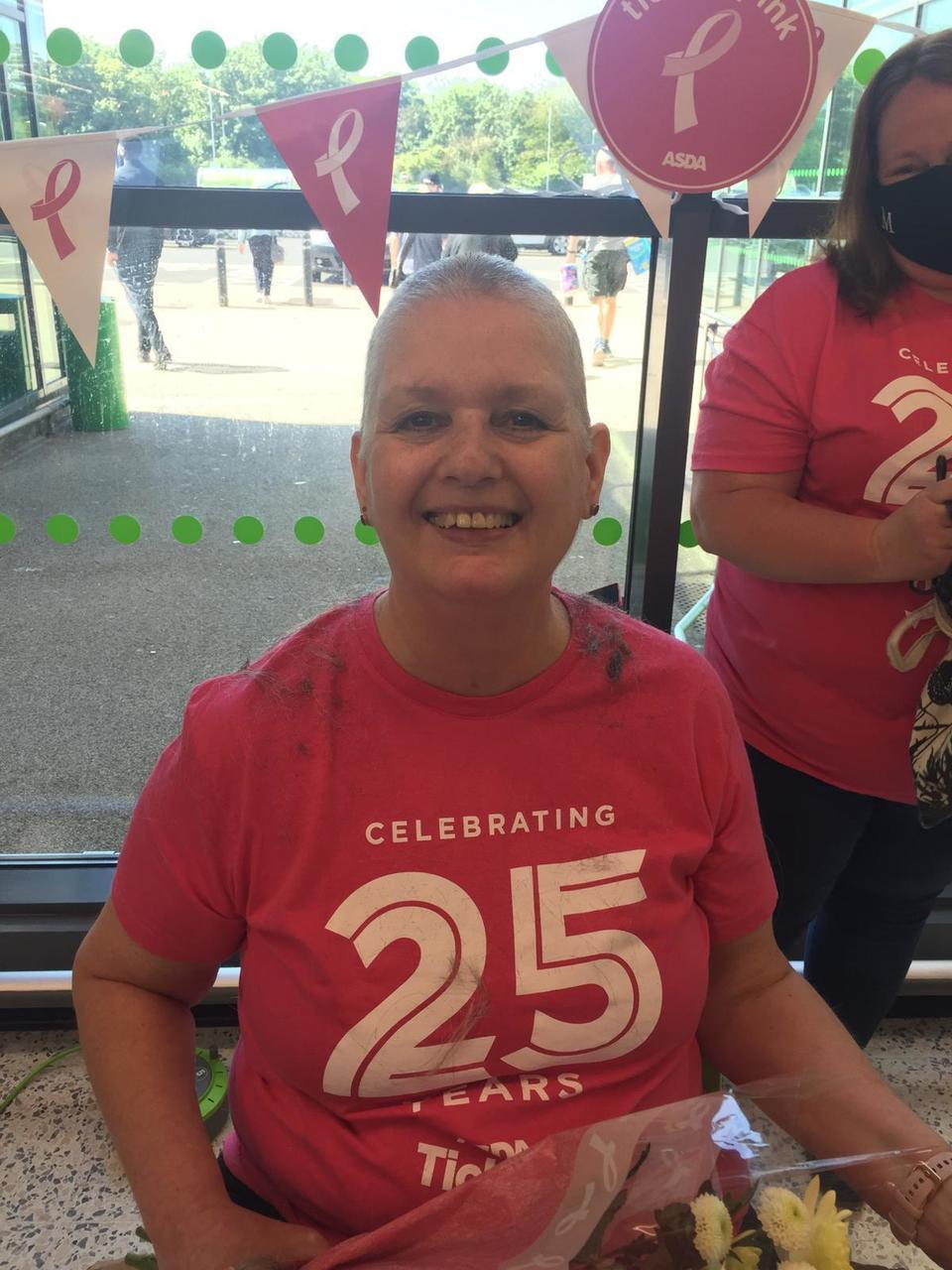 Diana shaves her hair off to raise funds for Tickled Pink   Asda Gillingham Pier
