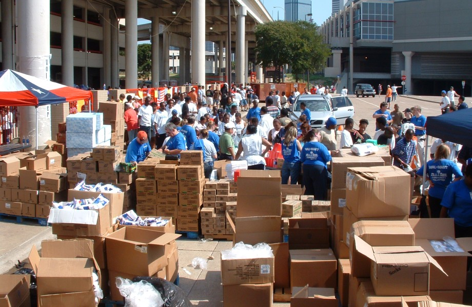 Volunteers hand out supplies at the Super Dome after Hurricane Katrina