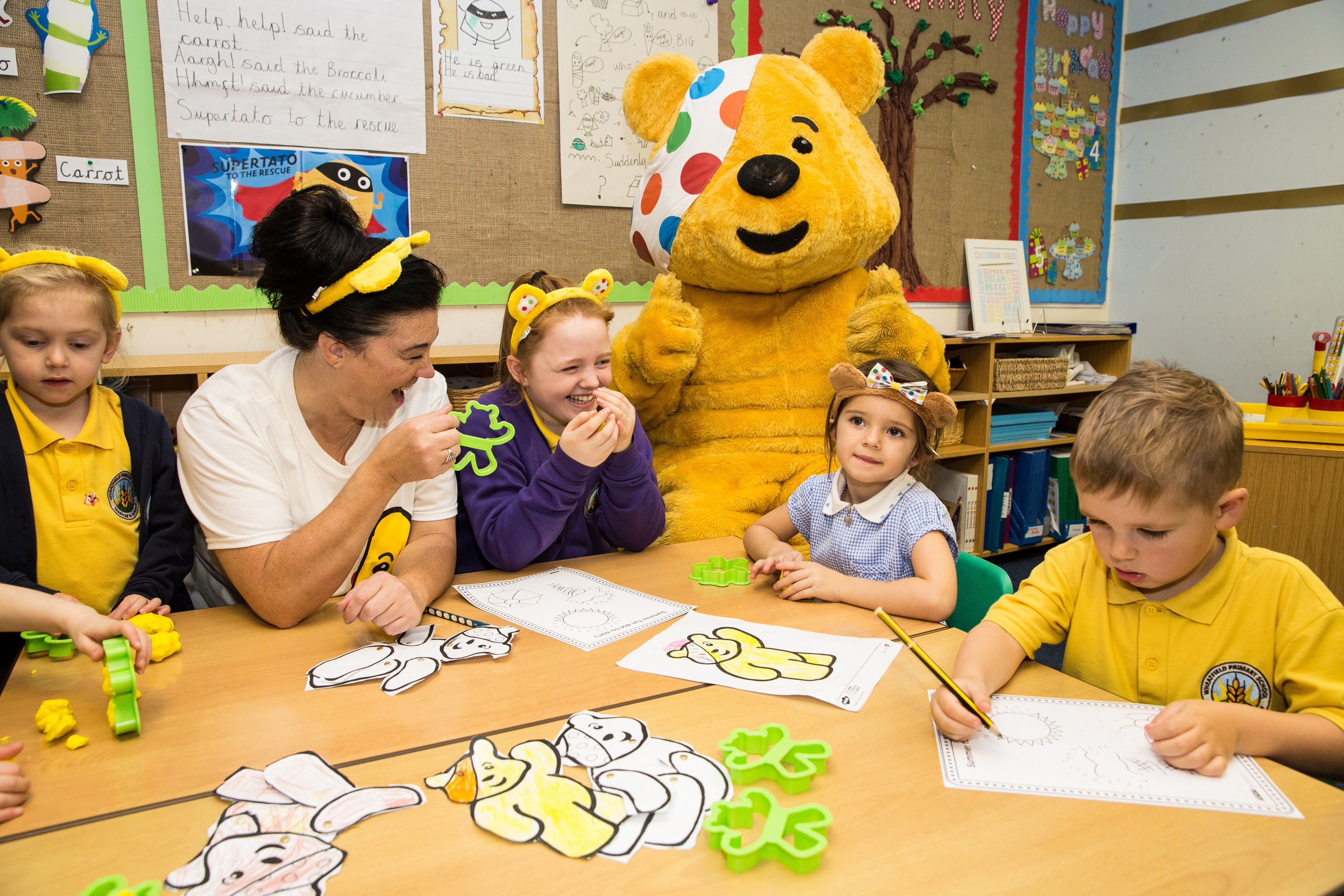 Caroline Canty from Asda Patchway celebrates BBC Children in Need with Wheatfields Primary School