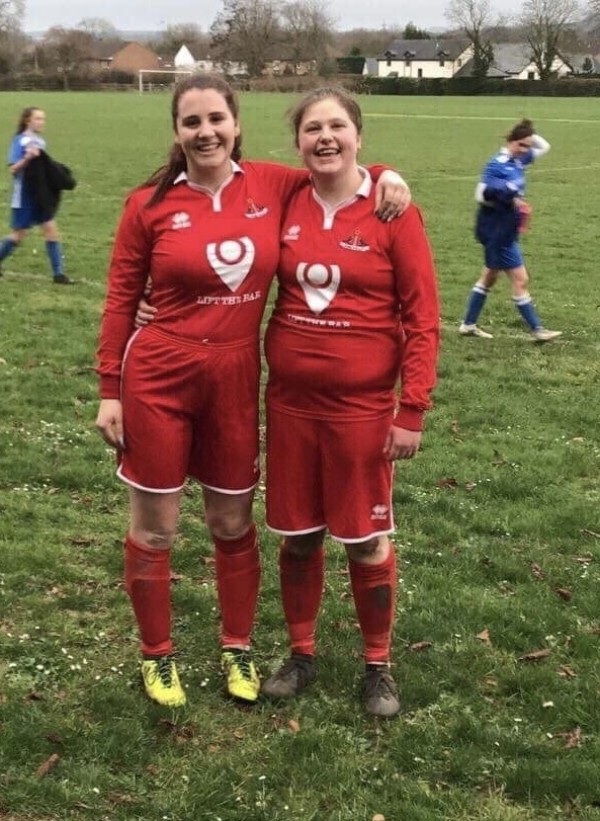Holly and Zoe from Asda Frome play for Frome Town Ladies FC