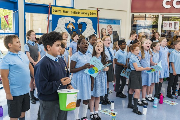 School choir performing at the NHS 70th birthday event