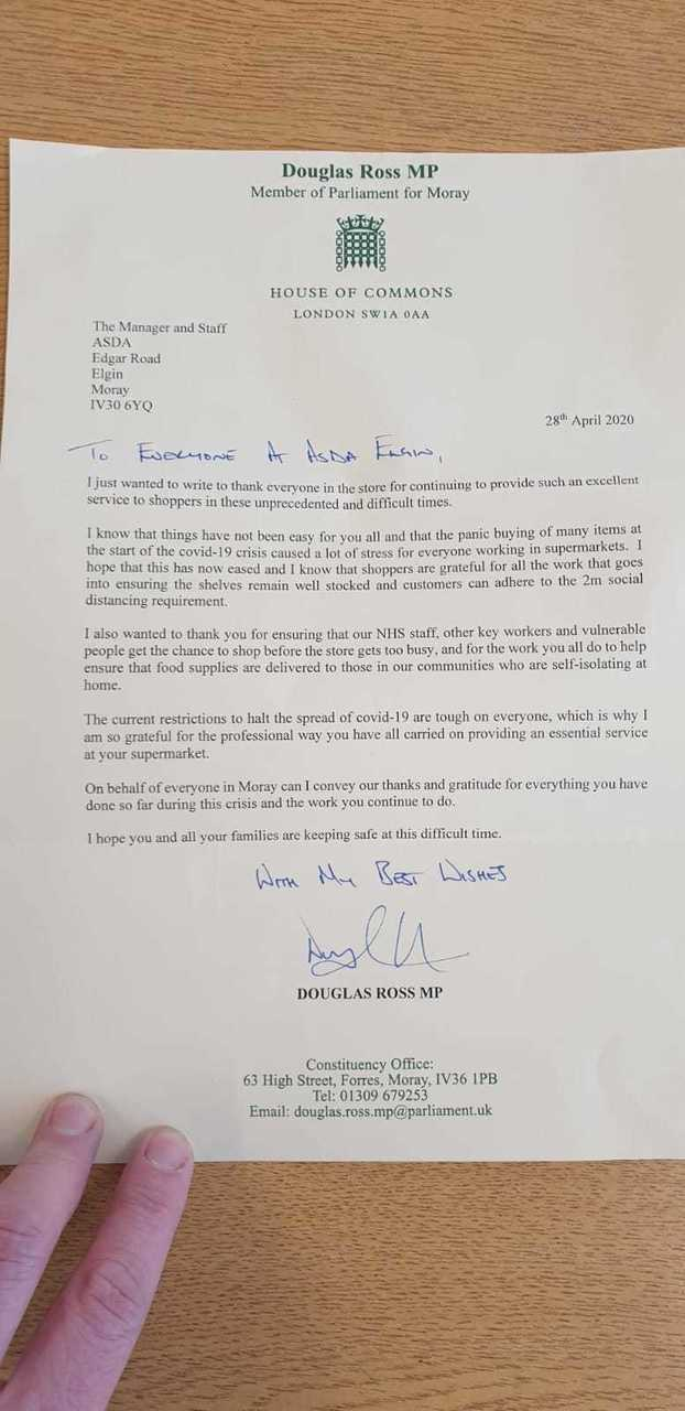 Thank you letter from MP | Asda Elgin