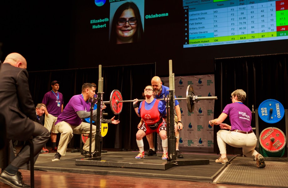 Walmart associate Liz Hubert competes at the Special Olympics