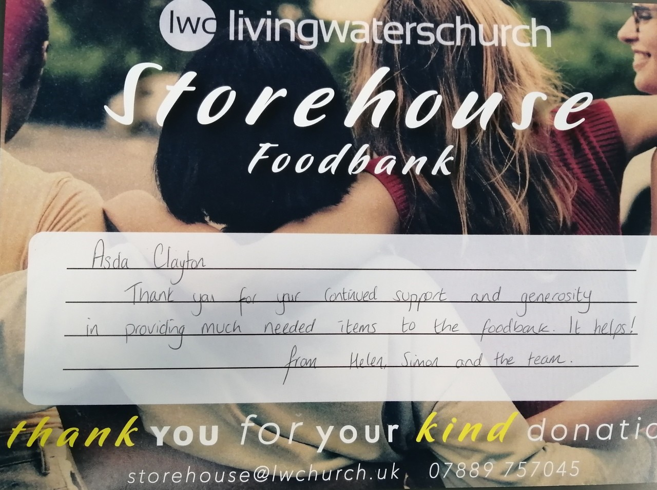 Certificate of thanks from our local foodbank, | Asda Clayton Green