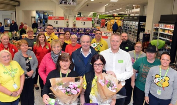 Customer reunited with Asda Boldon colleagues Helen and Linda who saved his life