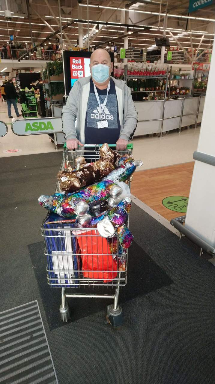 Trolley of toys for Men Matter Scotland | Asda Clydebank