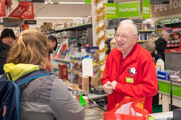 "Jim Cutaia at Asda Falkirk is affectionately known as ""American Jim"""