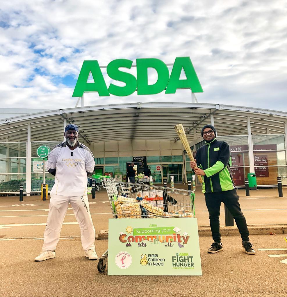 Olympic torch bearer Frank in store | Asda Leyton Mills