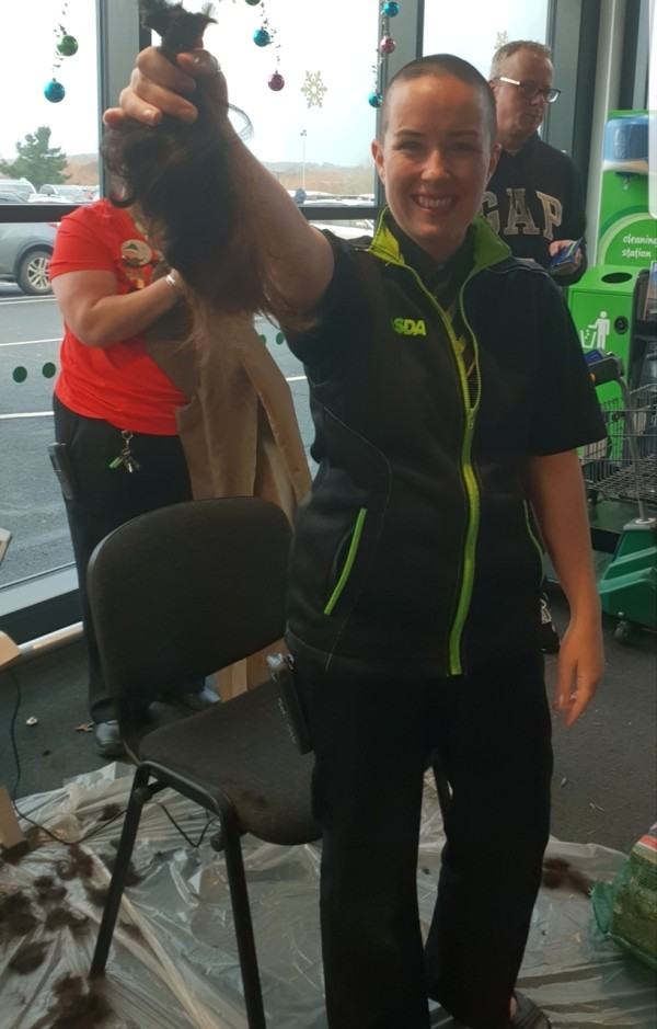 Millie Lloyd from Asda Isle of Wight has raised £2,000 for the Little Princess Trust by shaving off her hair