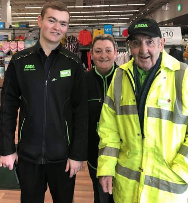 Joe Moran works at Asda Breck Road with his daughter Joanne Gardner and grandson Daniel
