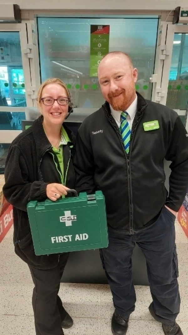 Scott Gannon and Maddie Furk from Asda Weymouth gave first aid to a four-year-old boy who had a seizure