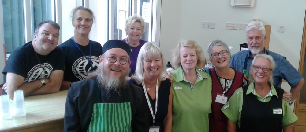 Asda Brighton Hollingbury colleagues Maria and Barbara with Salvation Army volunteers