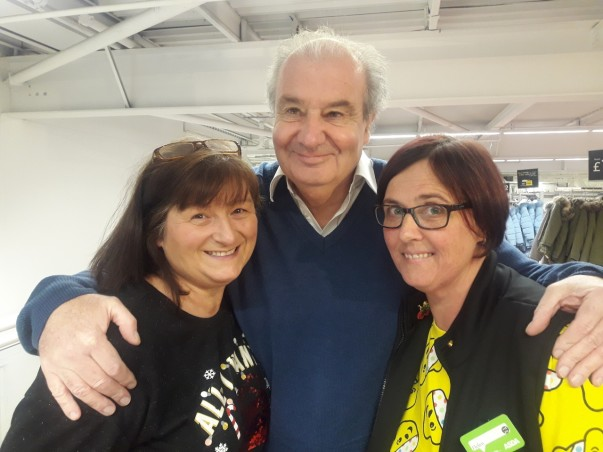 Shopper Tom is reunited with Asda Boldon colleagues Linda and Helen who saved his life