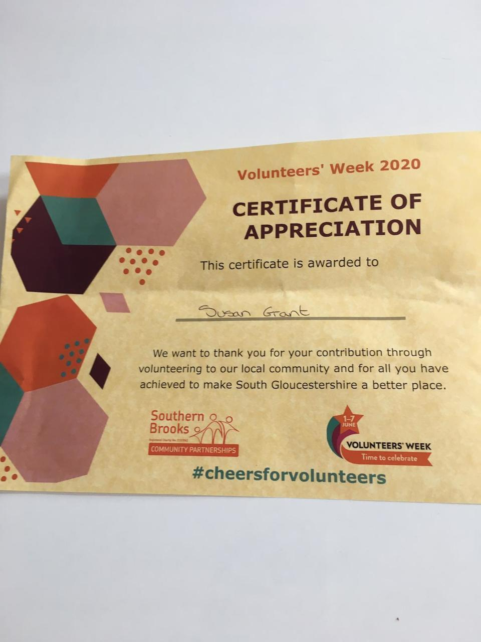 Certificate of appreciation | Asda Longwell Green