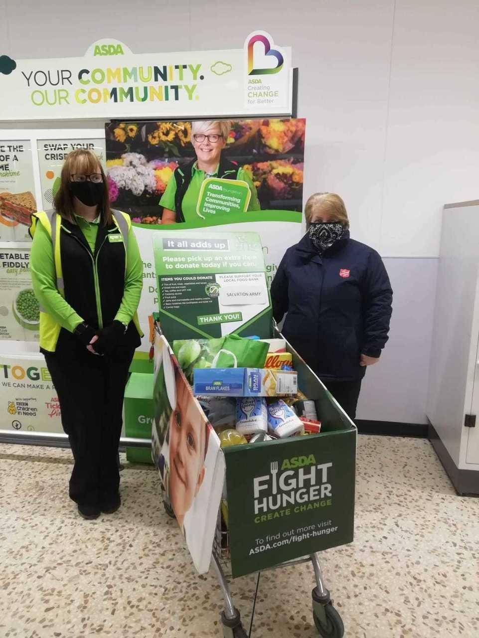 Donations to foodbank   Asda Peterhead