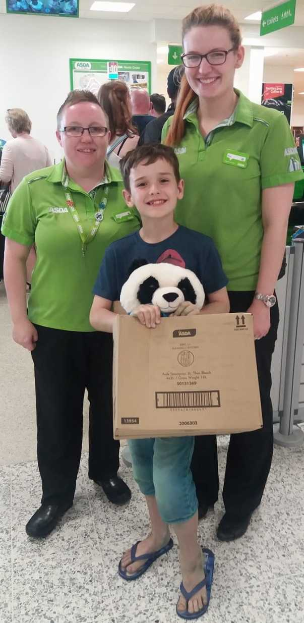 Colleagues at Asda Hunts Cross clubbed together to buy Pandy for Leon