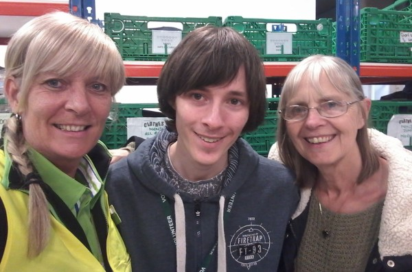 Asda Coventry community champion Lynda Cole with food bank volunteers