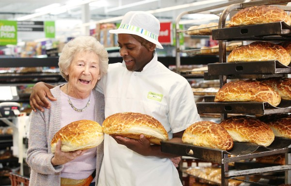 Audrey with Asda Barking bakery colleague Gary