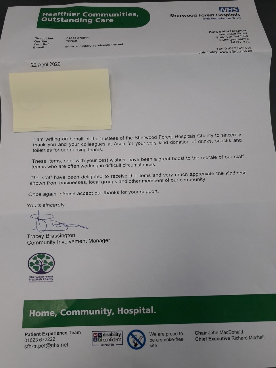 Received a lovley letter from Kings mill hospital thanking us for our donation of items for the staff | Asda Mansfield