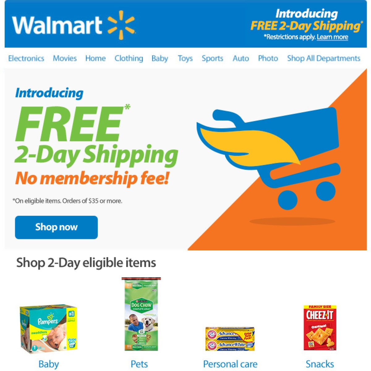 Walmart Launches Free Two-Day Shipping on More Than Two Million