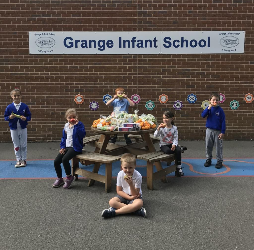 Fruit and snacks donation to the pupils at Grange School | Asda Gosport