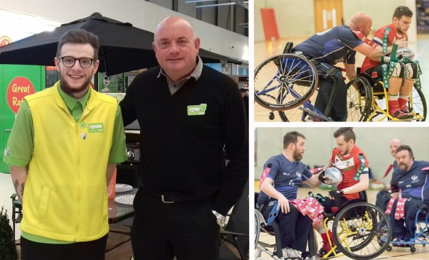 good luck to harry from asda wrexham in the wheelchair rugby celtic