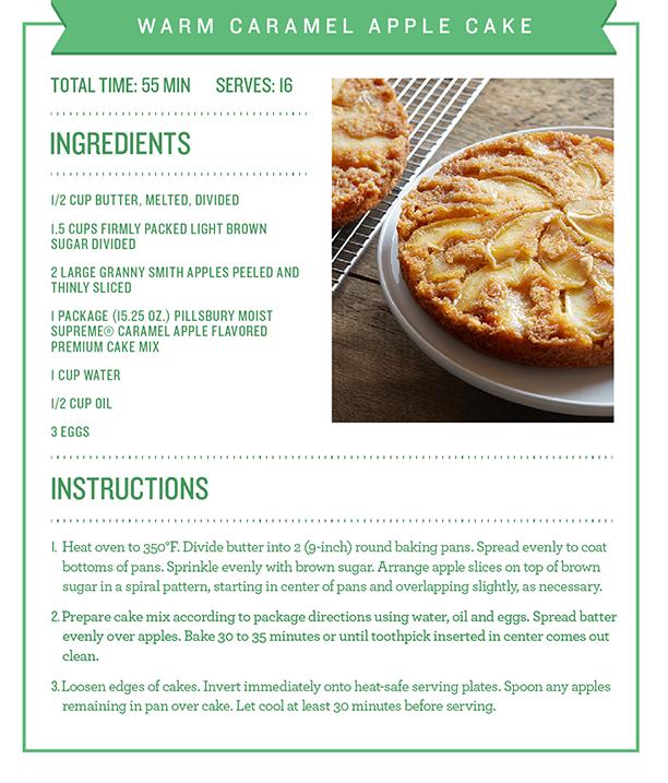 Warm caramel apple cake recipe