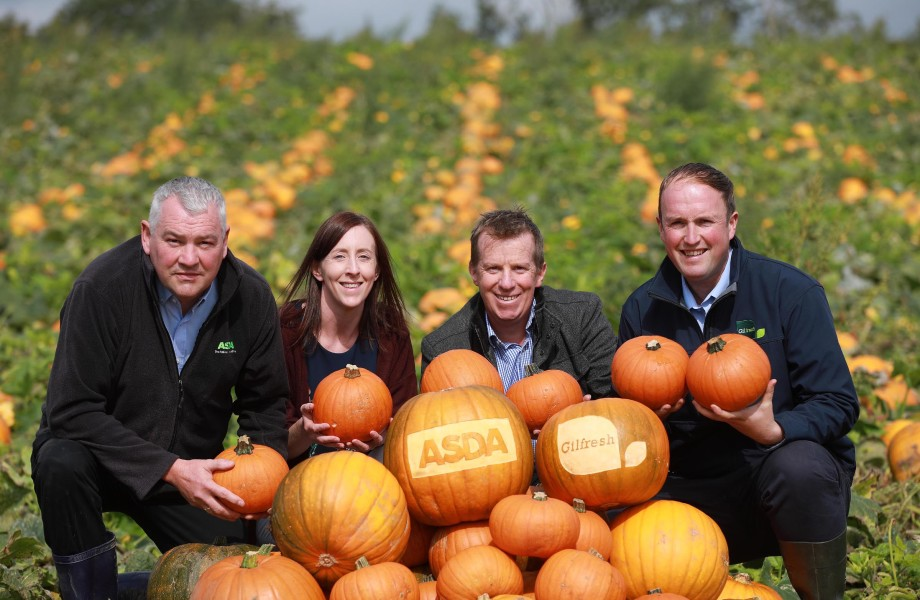 The Gilfresh team with homegrown Northern Irish pumpkins supplied to Asda