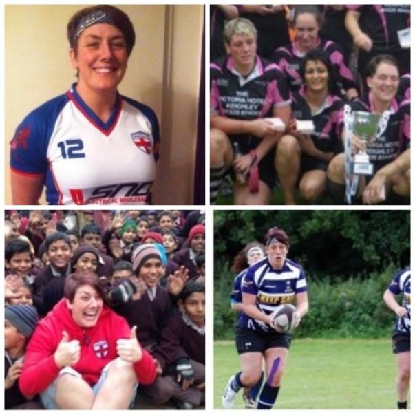 Amanda Clegg from Asda Halifax playing rugby