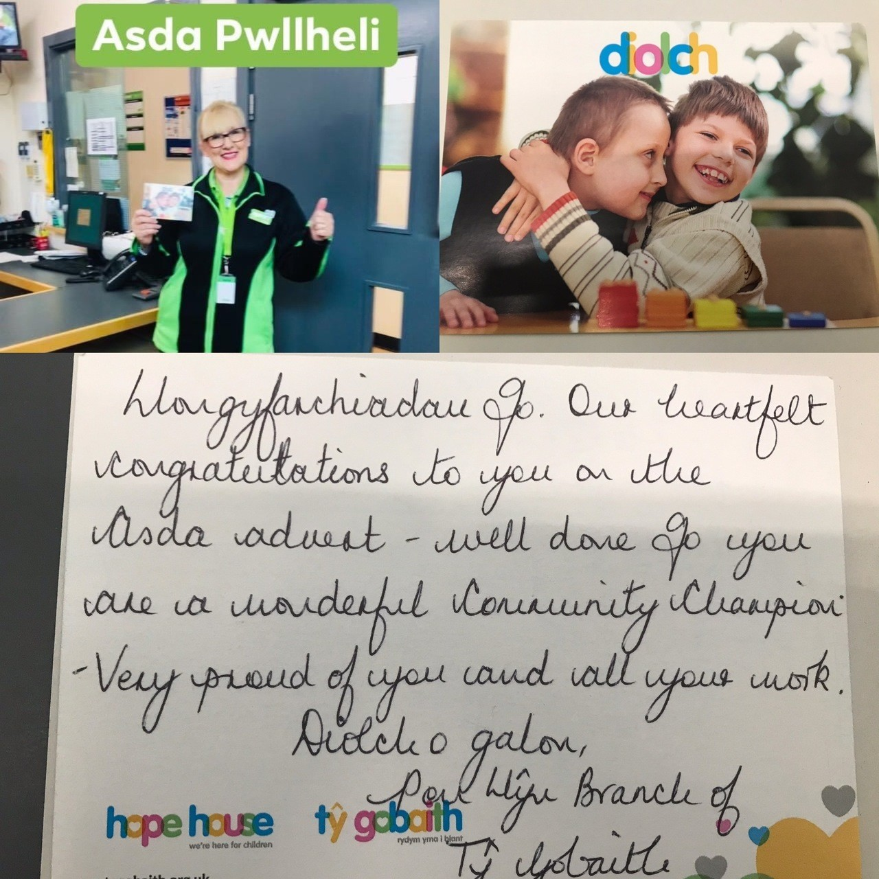 Lovely words from community group | Asda Pwllheli