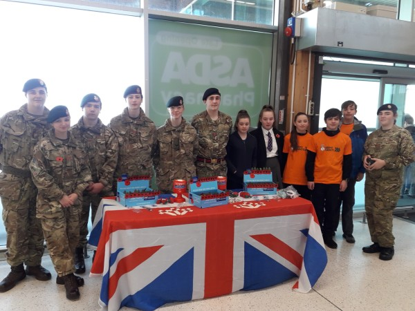Members of Bootle Central Rifle Cadets collecting for the Poppy Appeal at Asda Bootle