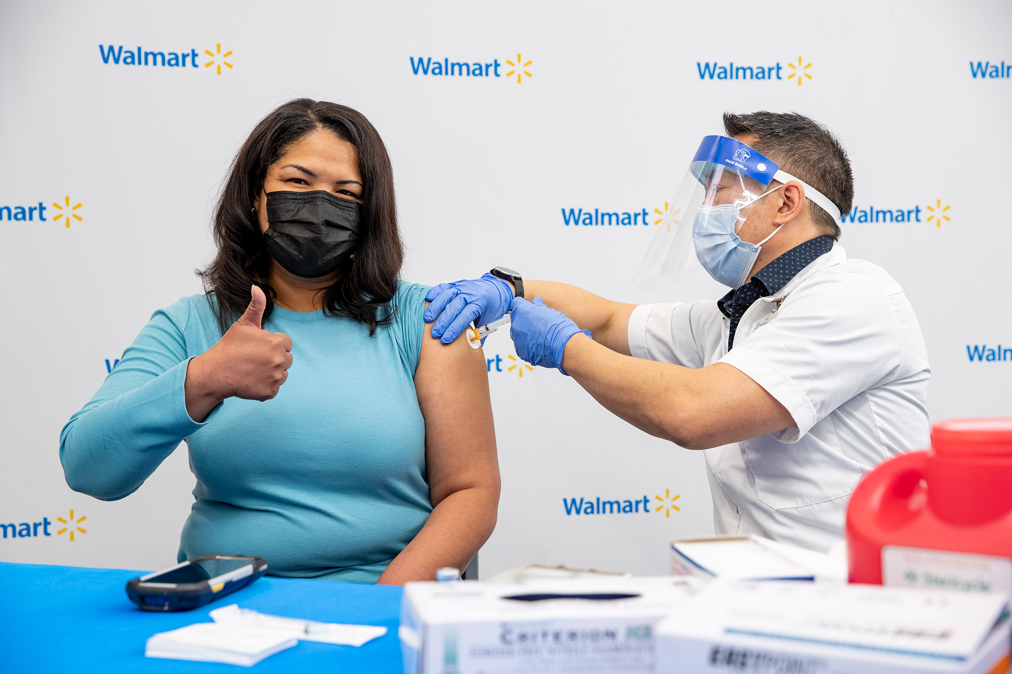 Customer receiving COVID-19 vaccine at Walmart