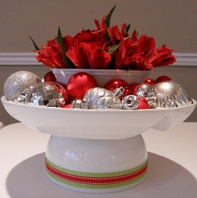 Holiday Decorations - Christmas Ornaments in bowl with flowers