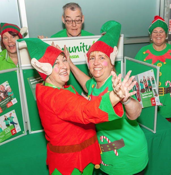 Val Banks and Colette Joynson from Asda Bootle supporting Elf Day for the Alzheimer's Society