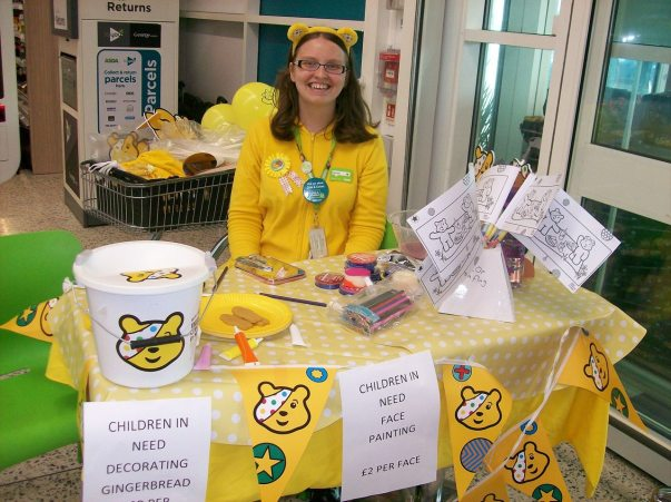 Asda Middleton community champion Charlotte supporting BBC Children in Need
