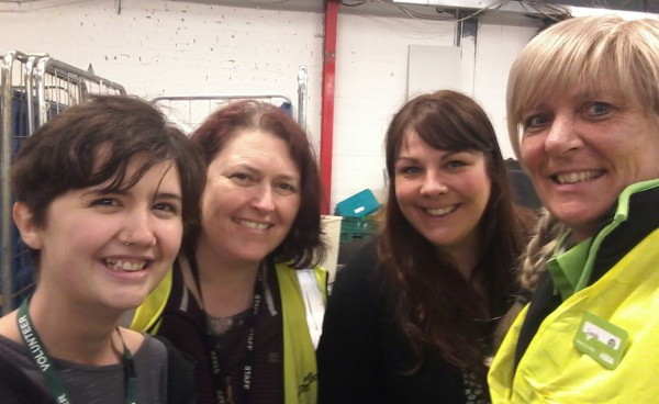 Asda Coventry store's community champion Lynda Cole with food bank volunteers