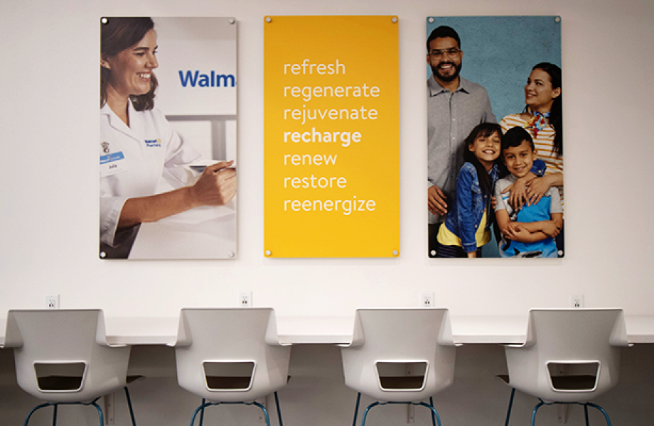 Walmart Health Center recharge center with chairs