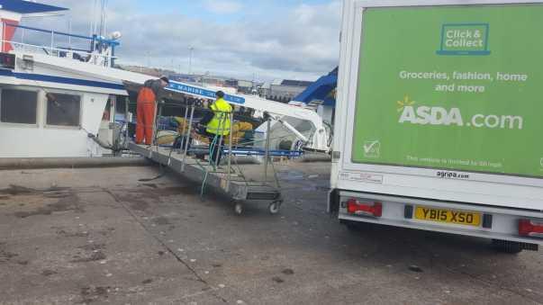 Asda van by harbourside in Peterhead