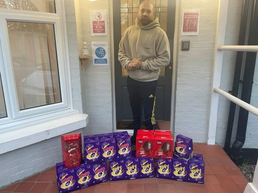 Donation of Easters eggs to a local care home, which were over the moon with the donation from asda Crawley   Asda Crawley