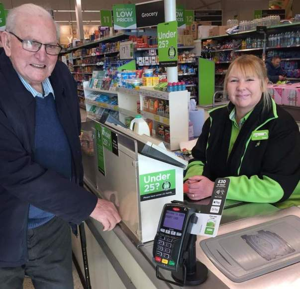 Norman Murcutt loves the friendly service from Wendy Farnworth at Asda Llangefni on Anglesey