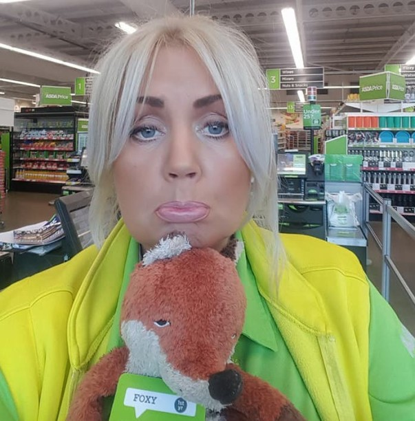 Asda Felling colleague Wendy Cummings with Foxy