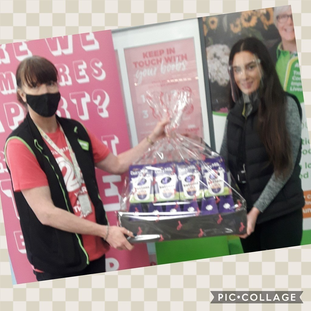 Donation of easter eggs to safenet domestic abuse service   Asda Colne