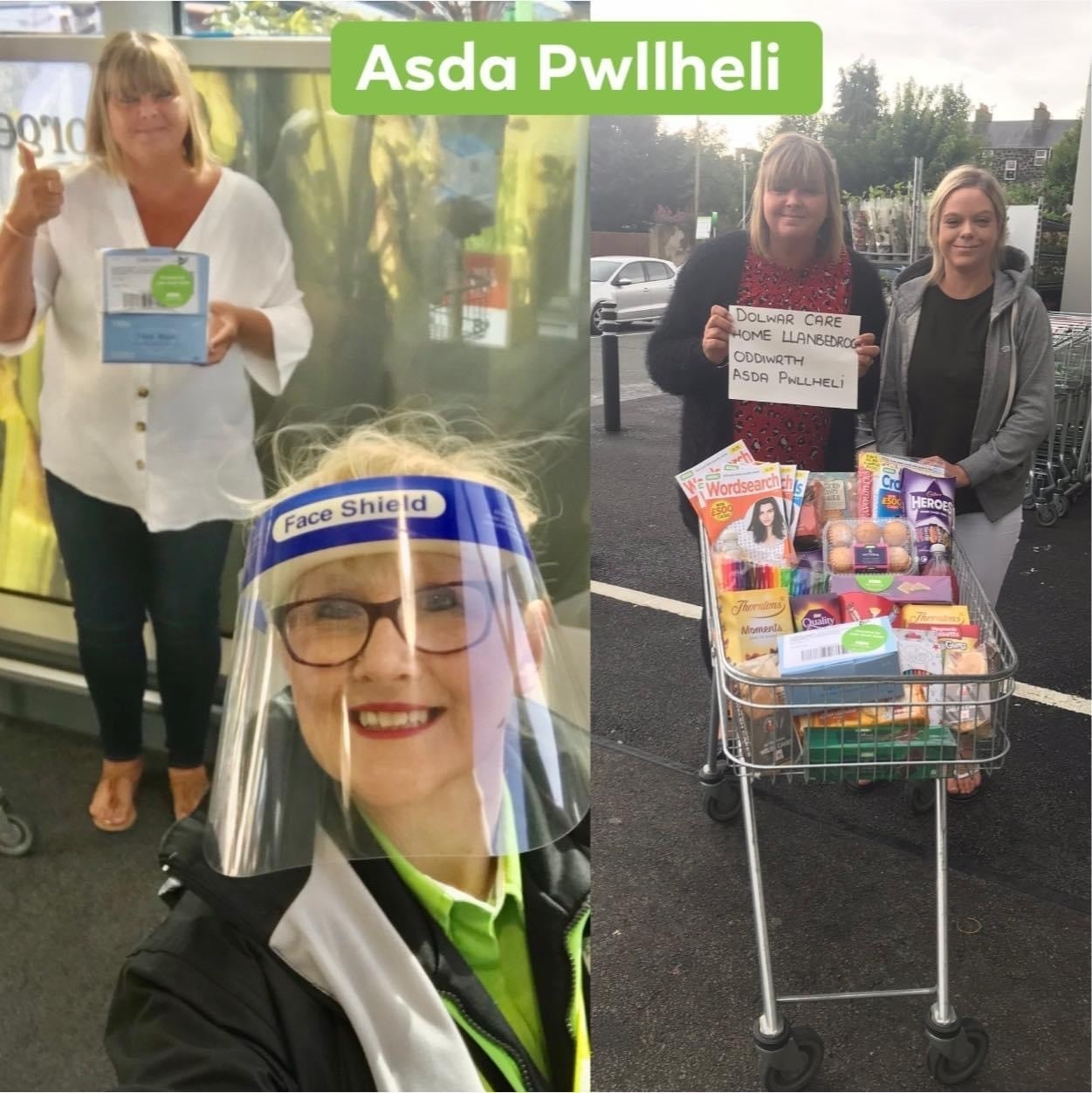 Donation of face masks to Dolwar Care Home | Asda Pwllheli