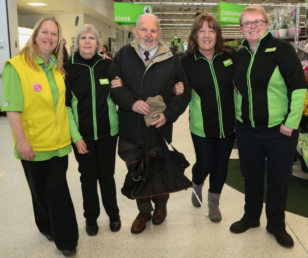 Colleagues at Asda Dunstable with blind 93-year old customer Trevor