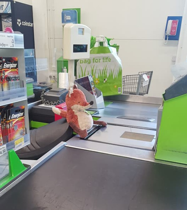 Foxy is happy to help at the checkouts at Asda Felling