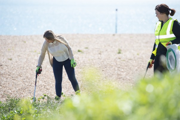 Asda colleagues from Kent and East Sussex teamed up to clean Folkestone beach