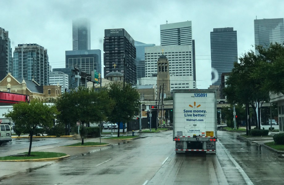 Truck driving through Houston for Hurricane Harvey relief