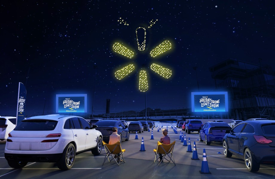 Walmart Holiday Drone Light Show - Overview with cars in parking lot