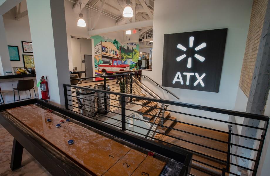 The Walmart Tech ATX sign inside the new Walmart tech headquarters in Austin, Texas